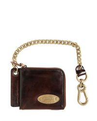 DSquared² Brown Chained Leather Zip Around Wallet for men
