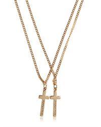 DSquared² - Metallic Logo Embossed Cross Pendant Necklace for Men - Lyst
