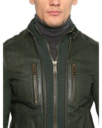 DSquared² Green Soft Nappa Leather Knit Biker Jacket for men