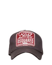 DSquared² Blue Cotton Gabardine Baseball Hat for men