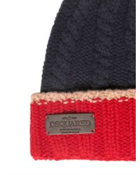 DSquared² Red Rib Cable Wool Knit Beanie Hat for men