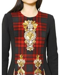 Fausto Puglisi - Embroidered Tartan and Wool Crepe Dress - Lyst