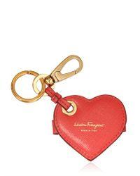 Ferragamo Red Heart Saffiano Leather Key Holder