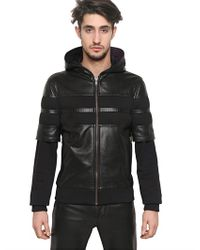 Givenchy Black Nappa and Neoprene Leather Jacket for men