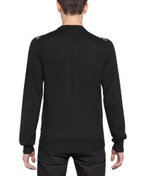 Givenchy Black Wooden Frame Wool Knit Sweater for men