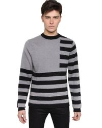 Givenchy Gray Two Tone Wool and Mohair Knit Sweater for men