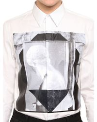Givenchy White Rubber Printed Cotton Poplin Shirt for men