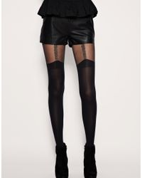 House of Holland - Black For Pretty Polly Chain Suspender Tights - Lyst