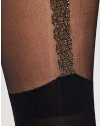 House of Holland | Black For Pretty Polly Chain Suspender Tights | Lyst