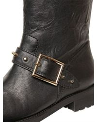Jimmy Choo Black Dash Studded Calf Biker Boots