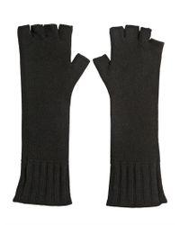 John Varvatos Black Fingerless Cashmere Knit Gloves for men