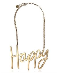 Lanvin - Metallic Stephanie Happy Metal Plated Necklace - Lyst