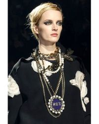 Lanvin | Metallic 'Love' Crystal Brass Necklace | Lyst