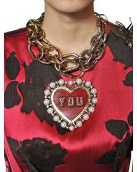 Lanvin - Red Gloria You Brooch Necklace Pin - Lyst
