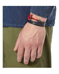Miansai Blue Leather and Enamelled Metal Anchor Bracelet for men