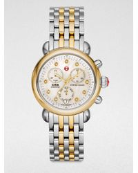 Michele Metallic Twotone Stainless Steel Chronograph Watch
