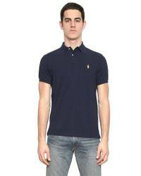 Ralph Lauren Blue Label - Blue Custom Fit Cotton Piquet Logo Polo for Men - Lyst