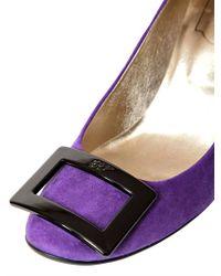 Roger Vivier Purple 85mm Belle De Nuit Suede Pumps