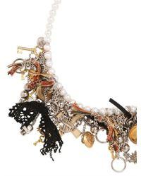 Saint Laurent | Metallic Customized Pearl Necklace | Lyst