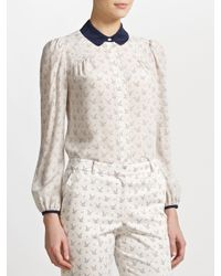 Somerset by Alice Temperley Natural Bird Print Blouse