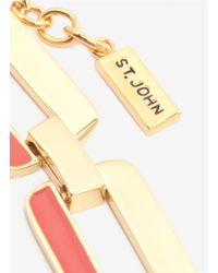 St. John - Metallic Square Chain Enamel Necklace - Lyst