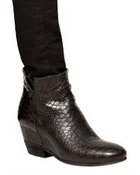 Strategia Black 80mm Croc Embossed Leather Wedged Boots