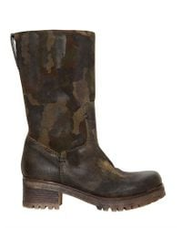 Strategia Brown Camouflage Printed Leather Boots