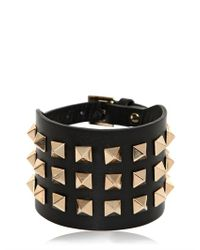 Valentino - Black Large Rockstud Leather Bracelet - Lyst