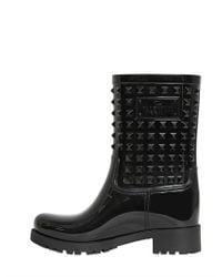 Valentino - Black Rubber Studded Rain Boots - Lyst