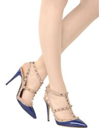 Valentino Blue 100mm Patent Leather Rockstud Pumps