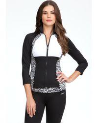 Bebe Black Leopard Print Funnel Jacket