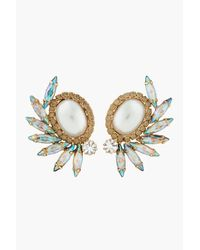 DANNIJO | Metallic Gold and Swarovski Handmade Karlie Earrings | Lyst
