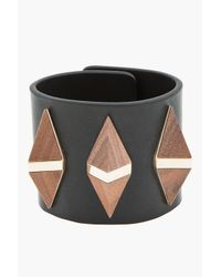 Givenchy | Black Leather Wooden Pyramid Cuff | Lyst