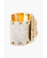 Lanvin | Metallic Hammered Silver and Crystal Cuff | Lyst