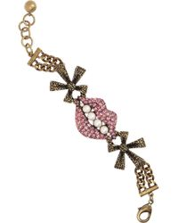 Lulu Frost - Pink Gold Plated Crystal Lips Bracelet - Lyst