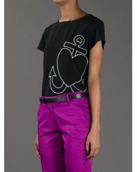 Boutique Moschino - Black Anchor Heart Tshirt - Lyst