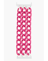 Raf Simons | Oversize Pink and Silver Triple Large Chain Bracelet for Men | Lyst