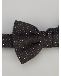 Saint Laurent - Black Polka Dot Bow Tie for Men - Lyst
