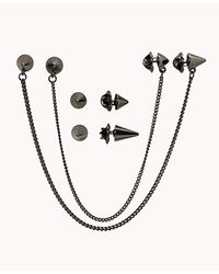 Forever 21 | Black Spiked Collar Chain Set for Men | Lyst