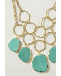 Anthropologie | Blue Hammered Turquoise Bib Necklace | Lyst