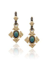 Armenta | Green Gold Opal Cravelli Cross Earrings | Lyst