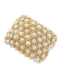 Kenneth Jay Lane | Metallic Pearlybead Goldentwist Bracelet | Lyst