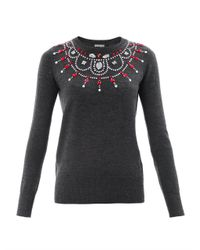 Markus Lupfer | Gray Rose Jewel Necklace Sweater | Lyst