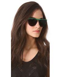 Stella McCartney - Green Flat Top Oversized Sunglasses - Top Black/Grey Spotty Tortoise - Lyst