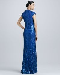 Tadashi Shoji Blue Sequined Lace Squareneck Gown