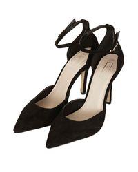 TOPSHOP Black Gizmo Ankle Strap Court Shoes