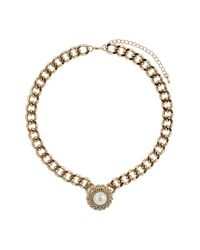 TOPSHOP - White Chain Wrapped Pearl Collar - Lyst