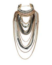 TOPSHOP - Multicolor Mega Chain Drape Necklace - Lyst