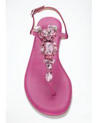 Bebe Pink Cora Jewel Flat Sandals