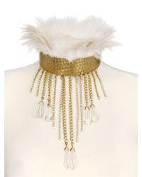 Stefano De Lellis | Metallic Ostrich Feather Rigid Brass Necklace | Lyst